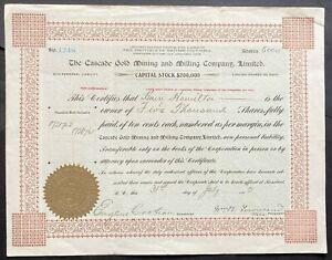 CASCADE GOLD MINING & MILLING CO. LTD Stock 1902. Rossland, BC, Canada. Kootenay