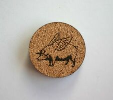 Flying Pig Etched Cork Coasters Set of 4 When Pigs Fly