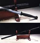 DAMASCUS FOLDED STEEL SHARP CHINESE HAN SWORD 汉剑 BLACK SAYA