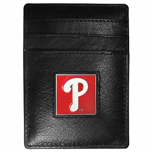 Philadelphia Phillies MLB Fine Grain Leather Cardholder Money Clip Wallet, Boxed