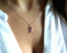 BREAST CANCER RIBBON NECKLACE 14K ROSE GOLD WITH PINK SAPPHIRES 0.20TCW NATURAL