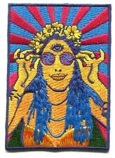 HIPPIE CHICK psychedelic EMBROIDERED IRON-ON PATCH -p3774 love peace *Free Ship*