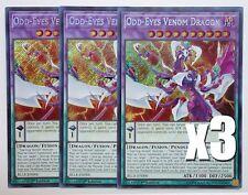 YuGiOh, 3X, Odd-Eyes Venom Dragon, BLLR-EN006, Secret Rare, New, Mint