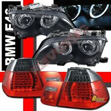 02-05 BMW E46 4DR Sedan 325i 330i Halo Projector Headlights + LED Tail Lights