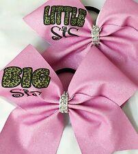 Cheer Bow ~ Big Sis Little Sis Leopard ~ Glitter - Hair Bows
