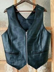 "Women's BIKERS WEAR Black Real Leather Waistcoat Size L - Chest 40"""