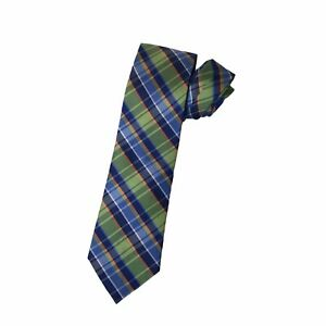 "Nautica Mens Slim Necktie Tie Plaid Spring Colors 100% Silk 59"" x 3 1/4"""