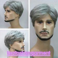 Parrucca MODA UOMO RAGAZZO CORTO GRIGIO MIX naturale dei capelli Parrucche + Gratis Cap Parrucca