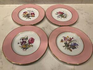 4 Pink Rim Spode Copelands England China Dinnner plates; Floral; artist signed