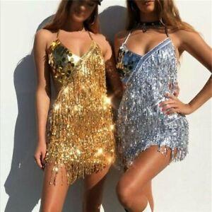 Women's Sequins Tassel Dresses  Festival Costume Glitter Party Backless