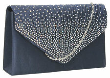 Womens Diamante Clutch Bag Ladies Envelope Clutch Bag Silver Gold Party Prom Bag