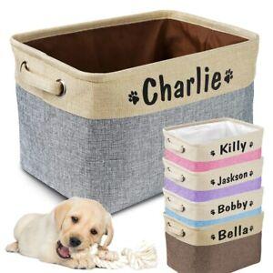Personalised Pet Dog Storage Basket Custom Name Print Storage Bin Toys Puppy