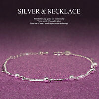 Girl Women 925 Sterling Crystal Chain Bangle Cuff Charm Bracelet Jewelry
