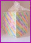 PURPLE BLUE ORANGE PINK NURSERY HANDMADE PLASTIC CANVAS TISSUE BOX COVER TOPPER