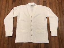 Vintage Athletic Knitwear Hialeah, Fl White Cardigan Sweater Mens Medium 42