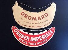 Anciennse casquettes publicitaires Bière Gruber et Dromard