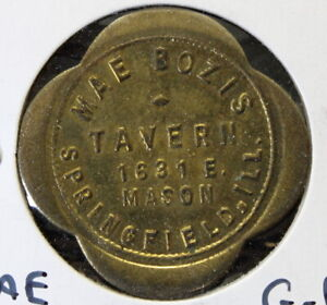 1930's Mae Bozis Tavern SPRINGFIELD ILLINOIS TRADE TOKEN COIN GOOD FOR 25 CENTS
