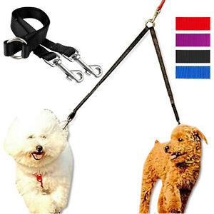 Nylon 2 Way Double Dog Leash Dual Coupler Pet Puppy Leads for Two Dogs Walking
