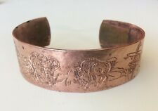 Vintage Mid Century African Zoo Animals Copper Engraved BANGLE CUFF BRACELET  **