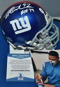 MICHAEL STRAHAN CUSTOM FACE MASK MINI HELMET NEW YORK GIANTS HOF 2014 JSA