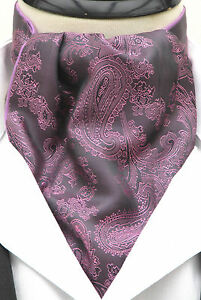 Mens Purple & Lilac Paisley Silk Satin Ascot Cravat & Pocekt Square - Made in UK