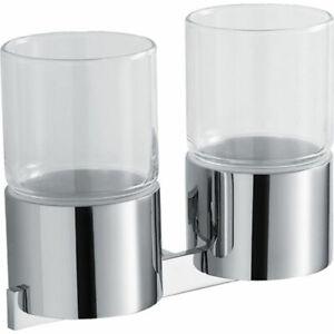 Polished Chrome Bathroom Double Tumbler Cups Holder Toothbrush Holder Kraus