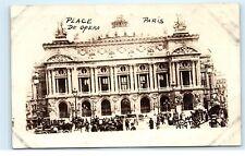 *c1919 Place de Opera Paris France WW1 WWI World War 1 Old Vintage Postcard C24