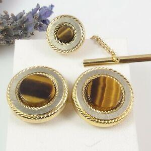 Vintage Attractive Metal Tiger's Eye Stone Round CUFFLINKS & TIE Pin