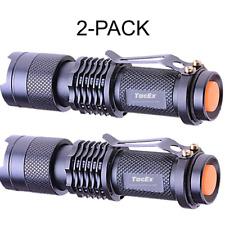 2 PC Tactical Camping Mini LED Flashlight 500 Lumen Handheld Light 3 Mode Metal