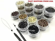 200 Silicone Lined Micro Rings Crimp Beads Hair Extension I tip Free Hook /Loop