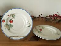 Set of 2 Savoir Vivre Luscious JJ017 Strawberry Flowers Dessert Saucer Plates