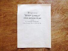 "1918 ""Step Lively"" St. Louis Park High School Minnesota Senior Play Program MN"