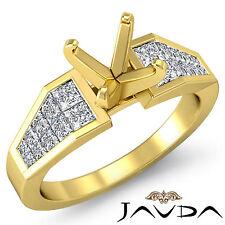 Genuine Diamond Engagement Ring 18k Yellow Gold Princess Round Semi Mount 0.78Ct