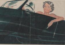 """""""PIN-UP en AUTOMOBILE"""" Affiche originale entoilée CAROLS (BRENOT) 1950  50x34cm"""