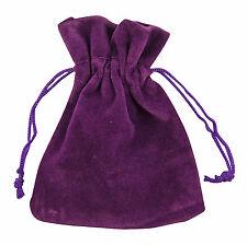 10 Purple Velvet Jewellery Drawstring Gift Pouches 5cm x 7cm