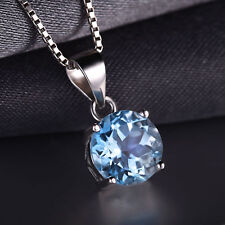 2.4ct Natural Blue Topaz Necklace Pendant 925 Silver special occasion ladies Hot
