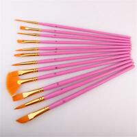 Wooden Watercolor Oil Painting Acrylic Brushes 12Pcs Paint Practice Brush Supply