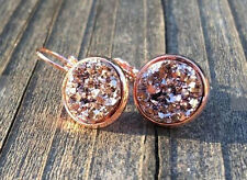 ROSE GOLD SPARKLING DRUZY GOLD/BROWN ROUND LEVER BACK EARRINGS 12MM