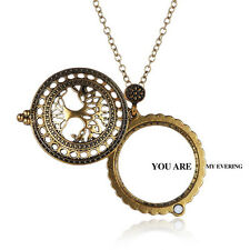 Fashion Times Vintage Magnifying Glass Pendant Necklace Life Tree Pocket Watch