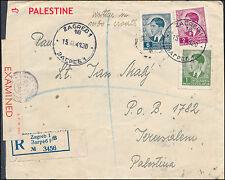 1941 Zagreb Yugoslavia Censored Registered Cover to Jerusalem Palestine