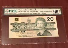 CANADA BANK 20 DOLLARS 1991 PMG 66 GEM UNC PICK 58 RADAR SERIAL # 9888889 RARE