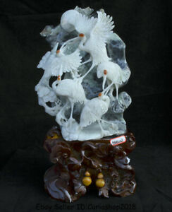 "17.6""Finely China Natural Xiu Jade Jadeite Carved red-crowned crane Birds Statue"