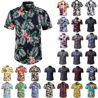 Mens Hawaiian Retro Short Sleeve Shirt Summer Casual Beach Holiday Slim Tee Tops