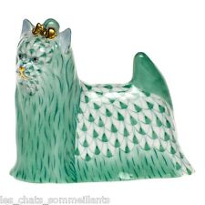 Herend, Yorkshire Terrier Porcelain Dog Figurine, Green Fishnet, Flawless