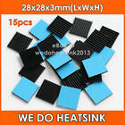 15pcs WE DO HEATSINK 28x28x3mm Black Aluminum Radiator Heatsinks Cooler With Pad