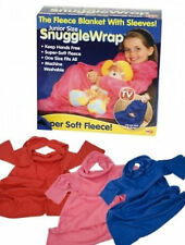 Kids fleece snugglewraps with sleeves blanket 3 colours super soft car air coach