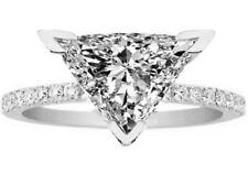 Ring Pave Band 14K White Gold Forever One Trillion Moissanite Petite Engagement