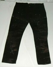 Akademiks Men's Jeans Black with Marbling Size 36x32 Zippered Thighs Smocking