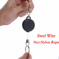Stainless Black Retractable Key Chain Recoil Keyring Heavy Duty Steel Wire UK