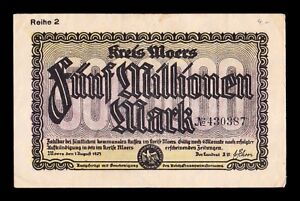B-D-M Alemania Germany Notgeld Moers 5000000 Mark 1923 MBC VF
